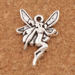 wholesale fairy charms Promo Codes - Flying Angel Fairy Charms Pendants 200pcs lot 22x14.7mm MIC Antique Silver Jewelry DIY L195 LZsilver