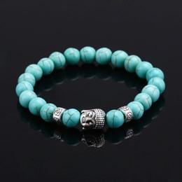 Wholesale Turquoise Mens Bracelet - Wholesale- Unisex Turquoise Buddha Nature Stone Women Beads Beaded Rock Elastic Bracelet Bangle GIFT Mens Retro Lava Stone