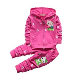 Wholesale Girls Purple Tracksuit - Wholesale- 2017 New autumn spring girls set cartoon Children Tracksuit kids clothing suit baby girls t shirt+pants 2 pcs sets suit