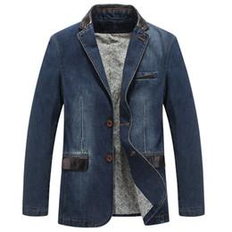 Джинсы chaqueta онлайн-Wholesale-  denim jacket men patchwork denim blazer men casual suit men chaqueta de mezclilla jaqueta jeans fashion blazer masculino