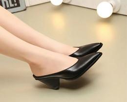 Wholesale vogue tie - best quality~U714 40 genuine leather black pointy cone med heel mules shoes slides sandals s fashion vogue m women designer runway catwalk