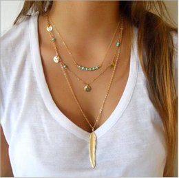 Wholesale Turquoise Leaf Necklace - Fashion simple turquoise beads sequins Feather Necklace wish multi leaf pendant hot models wholesale free shipping
