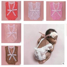 Wholesale Holiday Photography - Romper Baby Photography Props Lace Newborn Fashion Lace Infant Baby Playsuit White and Black Clothes Romper 6 Colors DHL Free Shipping