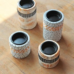 Wholesale Cheap Vintage Europe - Wooden Candlestick European Furnishing Bar Decoration Style Wedding Supplies Cheap Candle Holders Vintage Creative Style Old Crafts