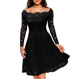 Wholesale Elegant Lace Knee Length - Women Lady Girls Casual Slim Elegant Sexy Lace Strapless Long Sleeve Shoulder Dress Skirts Clothing 2882