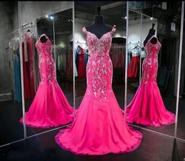 Wholesale Hot Sexy Sleeved Dresses - Hot Pink Prom Dresses 2017 Major Beaded Mermaid Cap Sleeved Curved V Neckline Sweep Train Evening Gowns