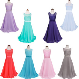 Wholesale Cute Chiffon Dresses - 2017 New Cheap High Quality Crew Neck Sleeveless Flower Girls' Dresses Lace Chiffon Cute Girls Wedding Girls Party Gowns MC0685