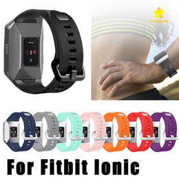 Wholesale Ionic Blue - For Fitbit Ionic Band Accessories Fitbit Ionic Bands Silicone Sport Strap with Stainless Steel Metal Clasp for Fitbit Ionic Watchbands