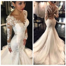 Wholesale Long Sleeves Fishtail Dresses - New 2017 Gorgeous Long Sleeves Lace Mermaid Wedding Dresses Dubai African Arabic Style Petite Slin Fishtail Bridal Gowns Plus Size