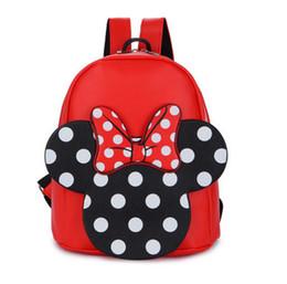 Wholesale Cute Shoulder Bags For Kids - Girls backpacks cute bows PU leather double shoulder backpacks for children polka dots Mickey school bag fashion kids princess bag T4203