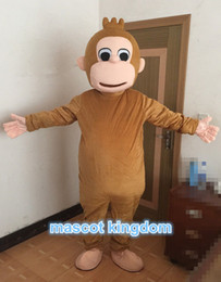 Wholesale Curious George Monkey Mascot Costume - Curious George Mascot Costume Monkey Halloween Party Dress Adult Size Free Ship