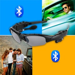 Wholesale Bluetooth Sunglasses Iphone - High quality Sports Headphone Wireless Bluetooth Sunglasses Headset Sunglass Stereo Handsfree Earphones Music Player for iPhone Samsung