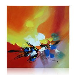 Wholesale Modern Abstract Acrylic Painting - KGTECH Modern Abstract Oil Painting Canvas Art Handpainted Acrylic Art Decor 24 inches Squre For Wall Home