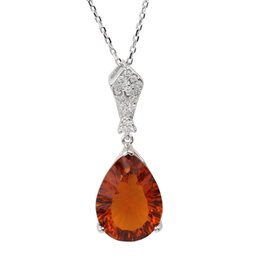 Wholesale Cut Glass Plates - Women's 925 Sterling Silver Pendant Necklace Dress Jewelry 12x16mm Pear Cut Brown Glass Charm 18-inch Cable Chain Mother's Day Gift P014BG