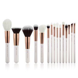 Wholesale Powder Liner - Jessup Pearl White Rose Gold Professional Makeup Brushes Set Make Up Brush Tools Kit Foundation Powder Definer Shader Liner