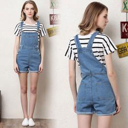 Wholesale Denim Bib Shorts Women - Fashion Summer Short Jeans Girls Woman Classic Suspender Jeans Shorts 2017 Women's Casual Slim Bib Overalls Denim Shorts Pant