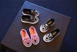 Wholesale Korean Kids Shoes Wholesale - Kids Bling Bling Animal Slip-on Shoes Girls Walker Cute Cartoon Cat Ear Shoes 2017 Spring Korean Fashion Bling Shiny Bow Shoes Q0641