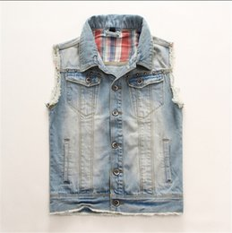 Wholesale Mens Fashion Vest Jeans - Wholesale- 2015 New Arrival Vintage Men's Denim Vest Fashion Man Slim Jeans Vests Mens Sleeveless Jacket Plus Size XXL 4XL 3XL XXXL XXXXL