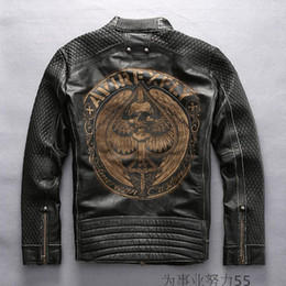 Wholesale Black Leather Flight Jacket - Outdoor stand collar Avirex fly genuine leather jackets American customs Embroidery motorcycle vintage jackets slim fit flight suits