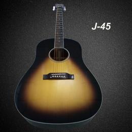 Guitarra acústica faz on-line-OEM handcrafted guitarra, China fez J45 estilo guitarra elétrica acústica, frete grátis