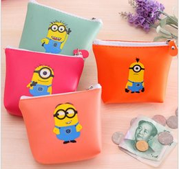 Wholesale Despicable Baby - Kids coin purses Despicable Me purses baby zipper purses PU leather cartoon Minions Wallets coin purse women coin purse holders