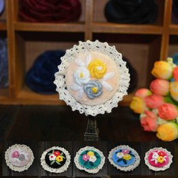 Wholesale Indian Fabric Wedding Dress - embroidery boutonniere stick for ladies and girls vintage style handmade fabric flower brooches pins for dresses sweaters suits 7 styles