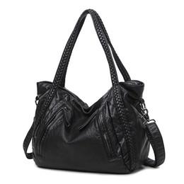 Wholesale European Knitting Bag - Famous Designer Brand Classic Leather Large Handbag Women Shoulder Bags High Quality Purses Fashion Knitting Totes Ladies Crossbody Bag