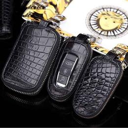 Wholesale Alligator Skin Bag - 2017 New Really crocodile skin Men Car Key Bag Holder Wallet Multi Function fashion Key bag