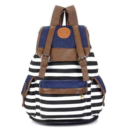 Wholesale Canvas Backpacks For Cheap - Wholesale- New Backpack Hotsale Cheap Women Bag Girl Striped Canvas Backpack Leisure School Backpacks For Teenagers Travel Rucksack
