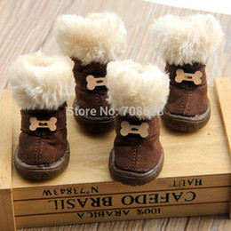 Wholesale Male Coffee - Thick Fur Pet Shoes Small Dogs Shoes Winter Warm Snow Boots For Teddy Poodle Coffee Pink Purple
