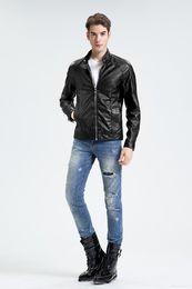 Wholesale Peplum Leather Jacket - 2017 New Design Men's Jacket Winter&Autumn PU Leather Black Fashion Slim Plaid Jacket For Man Drop Shipping