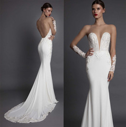 Wholesale Embroidered Strapless Dresses - elegant sexy open low back sheath wedding dresses 2017 muse berta bridal strapless deep plunging sweetheart neckline embroidered bodice