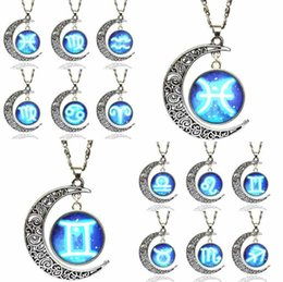 Wholesale Steel Time Jewelry - NEW Creative Women Necklace Fashion Jewelry Accessories High Quality Alloy Time Gem 12 Constellations Pendant Clavicle Chain GG06