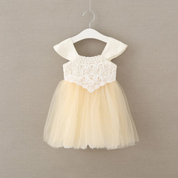 Wholesale Korean Lace Formal Dress - Korean New Summer Fashion baby Girls Clothes lace Princess Dresses Toddler Tulle Dress Childrens Pageant Formal Dresses Infant Clothing A253