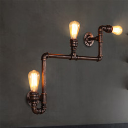 Wholesale antique art deco - 110V-220V Loft Industrial Wall Lamps Antique Edison Wall lights with E27 Vintage Pipe Wall Lamp for Living Room Lighting