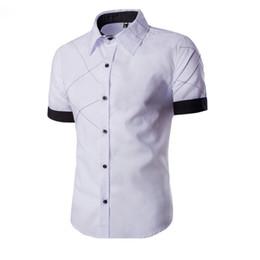 Wholesale Xs Men Satin Shirts - Wholesale- Fashion Shirt Men Slim Fit Dress Shirt Short Sleeve Casual Shirts Male Au16