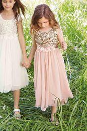 Wholesale Junior Bridesmaid Pictures - 2017 Flower Girl Dresses A Line Jewel Tea Lengt Sequined Tulle Hand Made Flower Junior Bridesmaids Dresses For Wedding Party