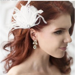 Wholesale Black Heart Hair Clips - 2017 Fashion Bride White Feather Stones Headdpieces Dance Performance Wedding Dress Hair Trim Head Clip Lace Female Wedding Accessories