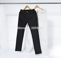 Wholesale Kanye West Jeans - Wholesale-new hot high street fashion men pants mens jumpsuit 2017 stage rockstar denim moto 30-36 fog black white kanye west skinny jeans