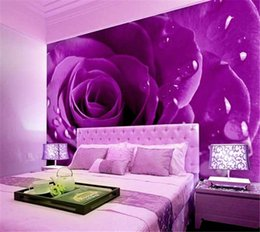 Wholesale Chinese Traditional Bridal Dresses - Romantic wedding dress wall painting a European 3D rosebud flower bridal house decoration painting background wall paper wallpaper