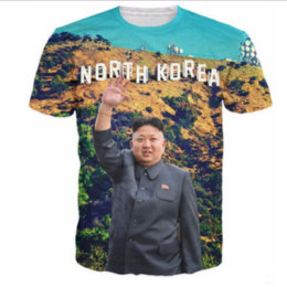Wholesale T Shirt Printing Korea - Newest Fashion Mens Womans North Korea Kim Jong Un T-Shirt Summer Style Funny 3D Print Casual T-Shirt Tops Plus Size AA225