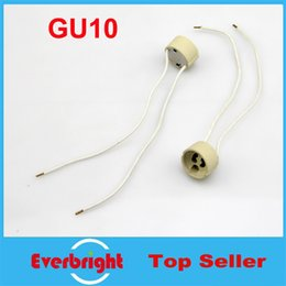Wholesale Colored Spotlights - Wholesale- GU10 Base Socket Wire Connector Lamp Holder Ceramic GU 10 Sockets For GU10 LED Lights Bulb Lamp Spotlight Free Shipping