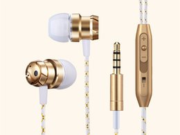 Wholesale Bass Plug - Wired Earphone Bass Stereo Earbuds For Music With Mic Control 3.5mm Plug For Iphone Android Phones Black Silver Gold Sport Headset Headphone