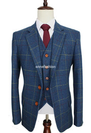 Wholesale Men S Wool Suits Blue - 2016 Wool Blue Check Tweed Custom Made Men suit Blazers tailor made slim fit wedding suits for men 3 piece