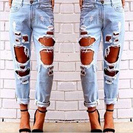 Wholesale Hole Tear Sexy - Wholesale- New Hip Hop Hole Denim Jeans Boyfriend Star Tearing Jeans Cowboy Trousers Ripped Pants Female Sexy Girls 2016 Hot Sale