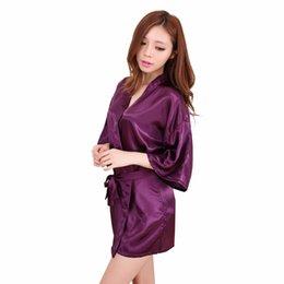 Wholesale Xxl Sexy Women Pajamas - Wholesale- Hot New Purple Women Silk Rayon Mini Robe Dress Kimono Yukata Bath Gown Sexy Nightgown Sleepwear Pajamas S M L XL XXL NB031