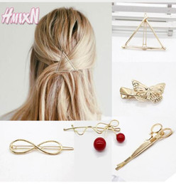 2017 pinces à cheveux rondes Round Popular Triangle à la feuille Shape Hairpins Metal Femmes Lady Girls Scissors Moon Barrette Hair Clip Accessoires cheveux Décorations pinces à cheveux rondes offres