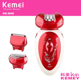 Wholesale Multifunctional Electric Tool - sale 3 in 1 Electric Epilator Rechargeable Multifunctional Women Shaver Hair Removal Foot Care Tool battery power shaver km3048