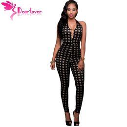 Wholesale Jumpsuits Longo - Wholesale- Dear Lover Macacao Feminino Longo Overall Black Nude Illusion Checkered Bodycon Jumpsuit Women Romper Combinaison Femme LC64138