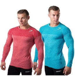 Wholesale Tights Long Sleeve Tees - Mens Long Sleeve T shirt Bodybuilding Fitness Gyms Clothing 2017 New Mens Gyms Compression Sporting Tops Tight Tee